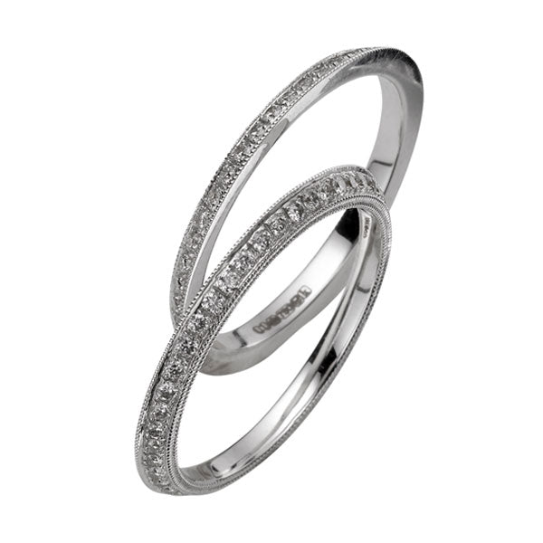 18ct White Gold & Pave-Set Diamond Enhancing Eternity Rings