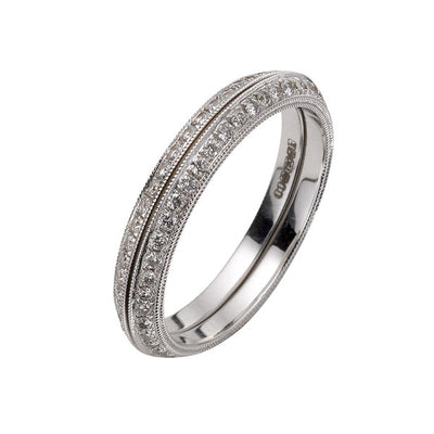 EC One Ungar and Ungar 18ct White Gold & Pave-Set Diamond Enhancing Eternity Rings