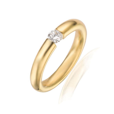 Gold Taper Tension Set Diamond Ring
