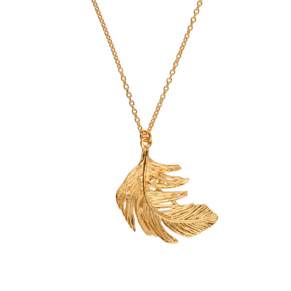 EC One Alex Monroe Large Gold Feather Necklace