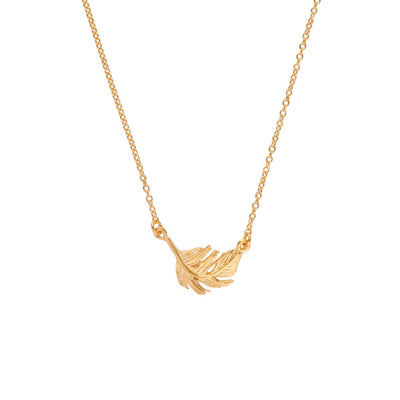Small Gold Feather Necklace