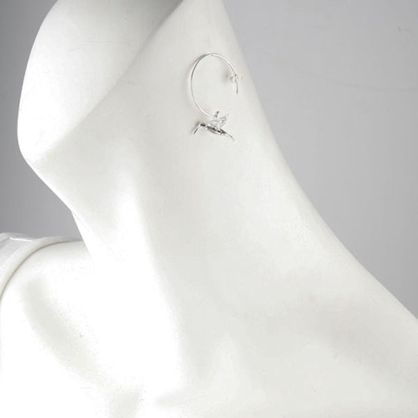 Silver Hummingbird Hoop Earrings