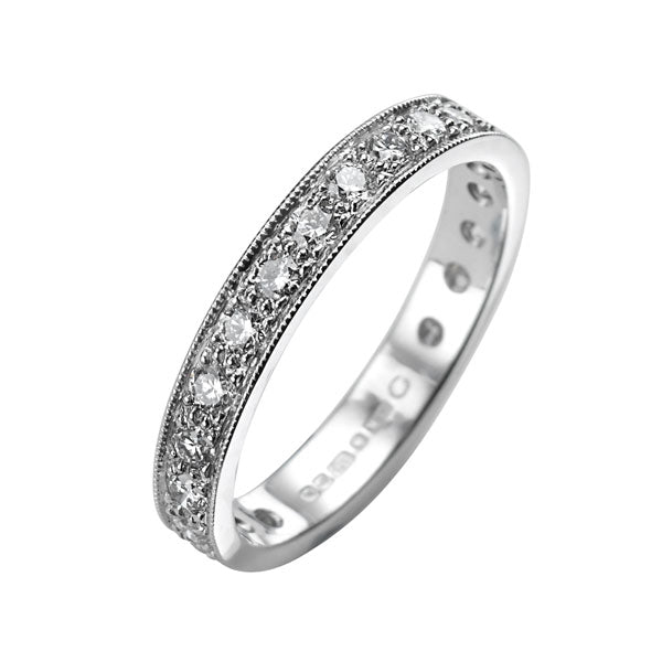 "EC One ""Emma"" Diamond pave White Gold Wedding band Eternity Ring"