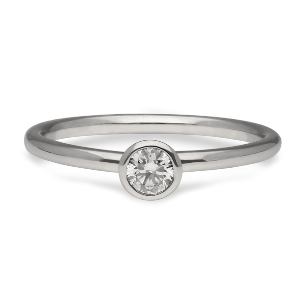 "EC One ""Janey"" recycled Platinum Ring with White Diamond stacking engagement commitment ring"