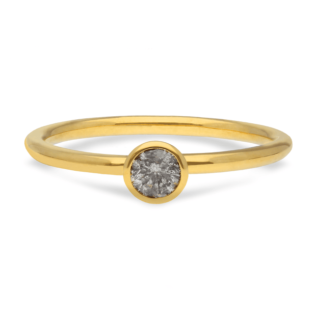 "EC One ""Janey"" 18ct recycled Yellow Gold Ring with Salt & Pepper Diamond"