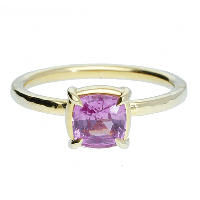 "EC One ""Alice"" Yellow Gold Engagement Ring with Cushion Pink Sapphire"