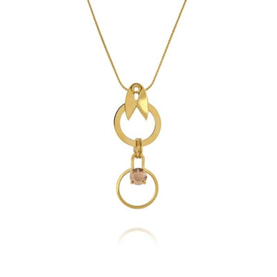 Double Circle Gold Drop Necklace