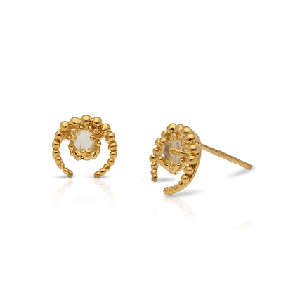 EC ONE michelle tuck Mini Crescent Moon & Labradorite Gold Studs