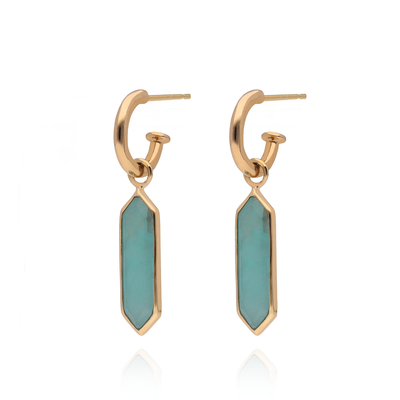 "Gold Hoops with Amazonite ""Hexa"" Drops Pair"