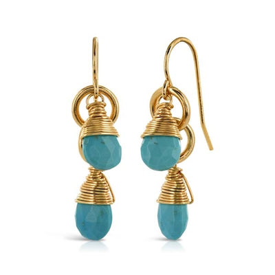 Turquoise Double Loop Gold Earrings