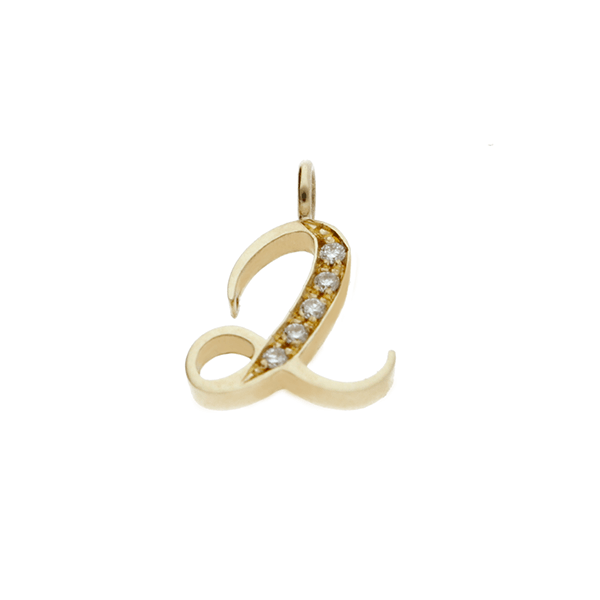 "EC One Diamond set recycled Gold number ""2""  charm"