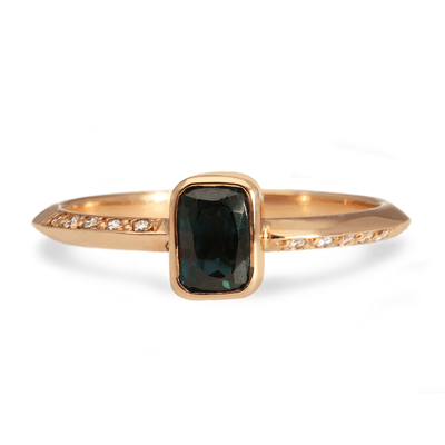 ELLIE AIR x EC ONE - Asteria Teal Sapphire & Diamond 18ct Rose Gold Ring