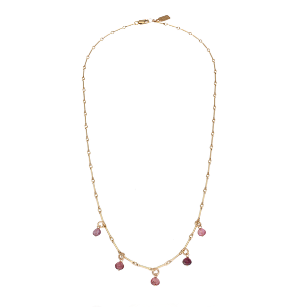 Ruebelle Necklace with 5 pink tourmaline charms