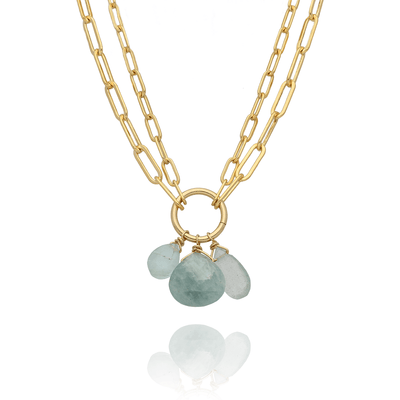Double Chain Necklace with Aquamarines