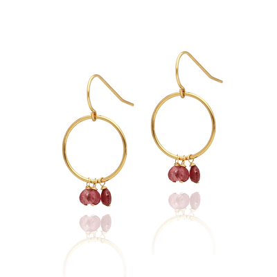 Pink Tourmaline Loop Earrings