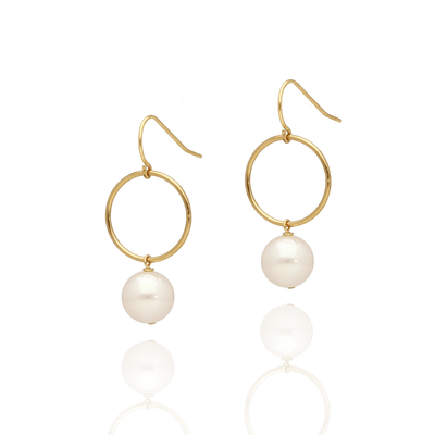 Round Pearl Drop Earrings