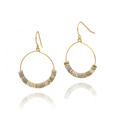 Fossilised Shell Small Hoops
