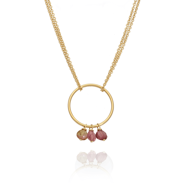 Pink Tourmaline Loop Necklace