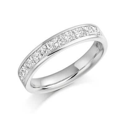 EC一Princess Cut 1.00ct Diamond Half channel set Eternity Ring