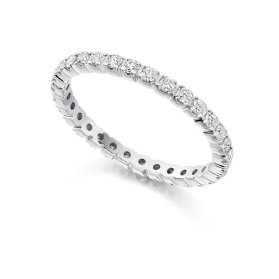 EC One Claw Set Brilliant Cut 0.55ct Diamond 18ct White Gold Full Eternity Ring