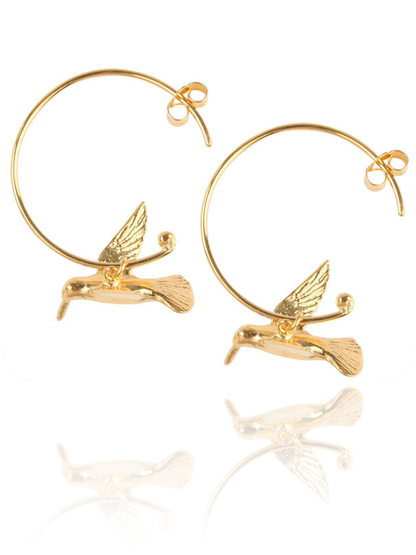 EC One Alex Monroe Hummingbird Gold Hoop Earrings