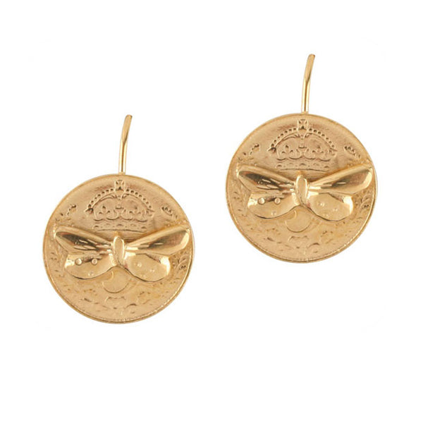 Butterfly Coin Earrings