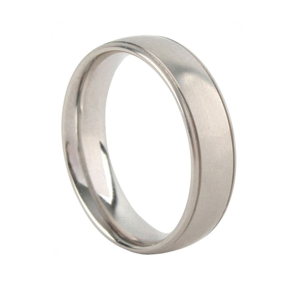 6mm Grooved Court Palladium Wedding Ring