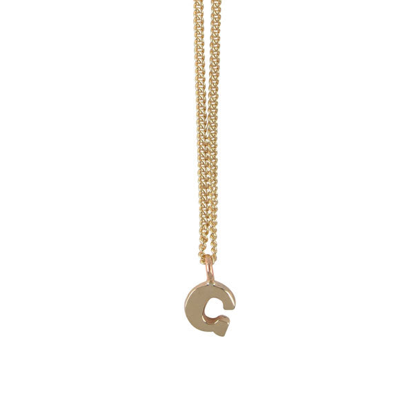 "EC One Mini recycled Gold Letter ""G"" Initial Necklace"