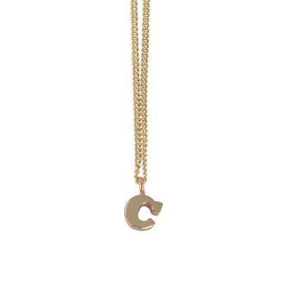 EC One Mini Letter 'C'  Initial recycled Gold Necklace