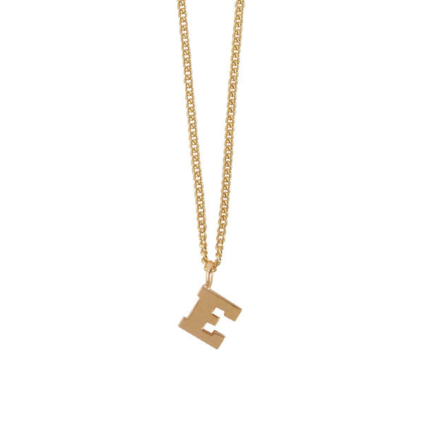 "EC  One Mini recycled Gold Letter ""E"" Initial Necklace"