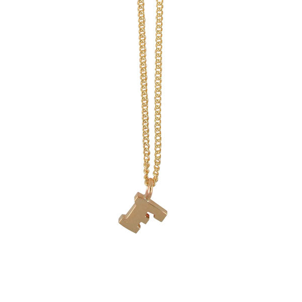 "EC One Mini recycled Gold Letter ""F"" Initial Necklace"
