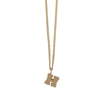 "EC One Mini recycled Gold Letter ""H"" Initial Necklace"