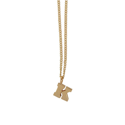 "EC One Mini recycled Gold Letter ""K"" Initial Necklace"