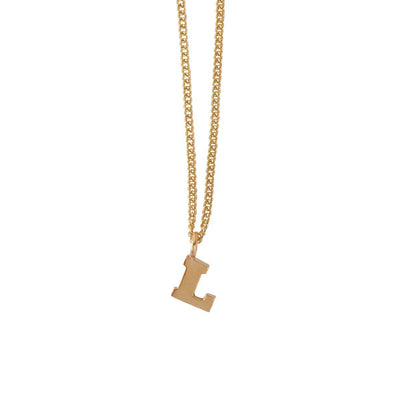 "EC One Mini recycled Gold Letter ""L"" Initial Necklace"