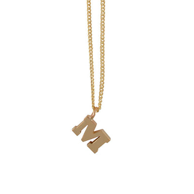 "EC One Mini Letter ""M"" Initial recycled Gold Necklace"