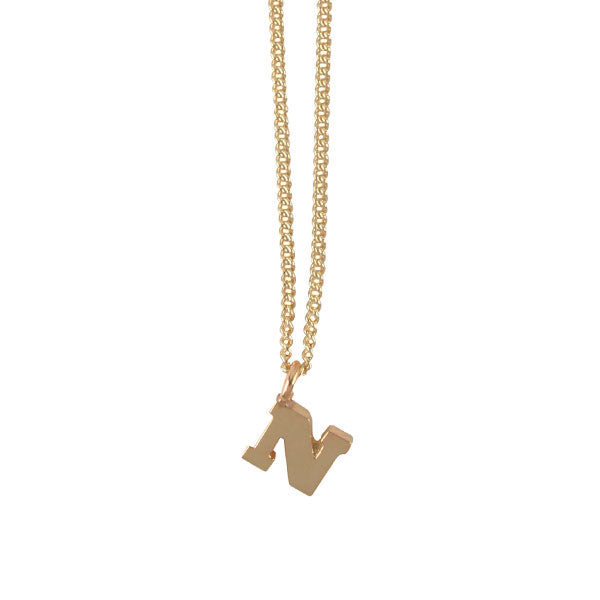 "EC One Mini Letter ""N"" Initial recycled Gold Necklace"