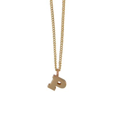 "EC One Mini Letter ""P"" Initial recycled Gold Necklace"