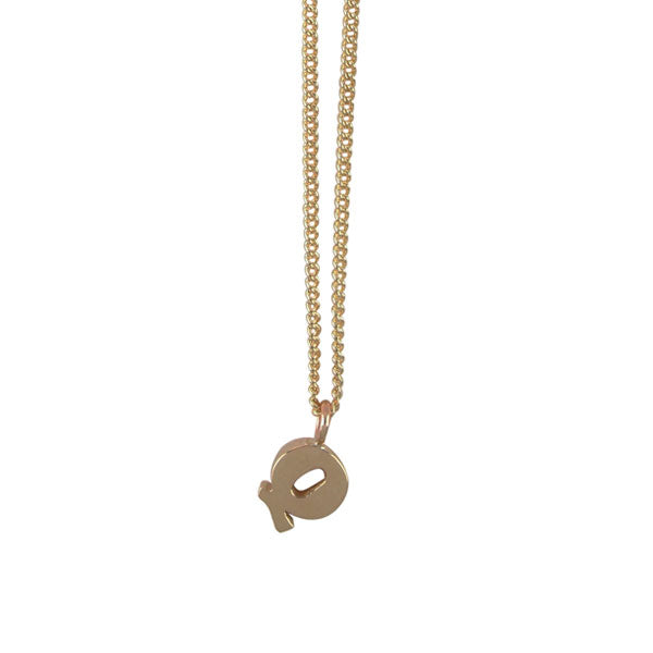 "EC One Mini Letter ""Q"" Initial recycled Gold Necklace"