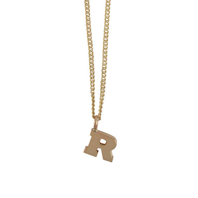 "EC One Mini Letter ""R"" Initial recycled Gold Necklace"