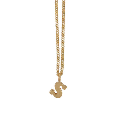 "EC One Mini Letter ""S"" Initial recycled Gold Necklace"