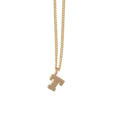 "EC One Mini Letter ""T"" Initial recycled Gold Necklace"