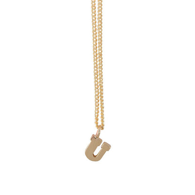 "EC One Mini Letter ""U"" Initial recycled Gold Necklace"