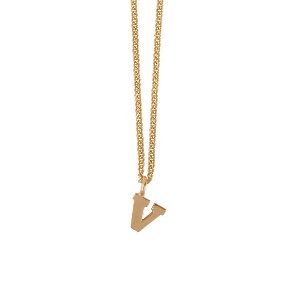 "EC One Mini Letter ""V"" Initial recycled Gold Necklace"