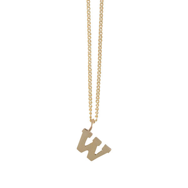 "EC One Mini Letter ""W"" Initial recycled Gold Necklace"