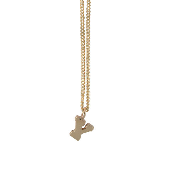 "EC One Mini Letter ""Y"" Initial recycled Gold Necklace"
