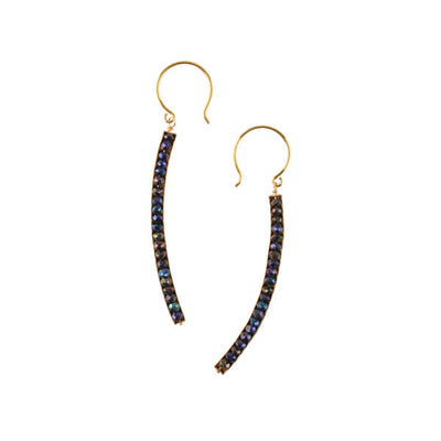 Blue Spinel Curved Earrings
