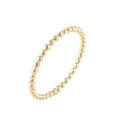 Skinny Yellow Gold Beaded Stacking Band