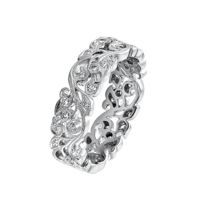 EC One Ungar and Ungar Medium White Diamond Gold Vine Eternity Ring