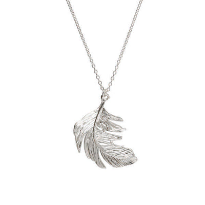Large Silver Feather Necklace
