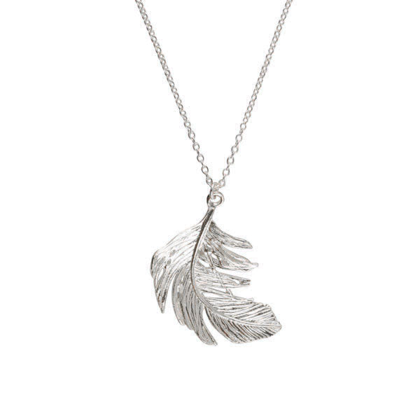 EC One Alex Monroe Large Silver Feather Necklace